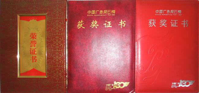 中国广告风云榜获奖证书